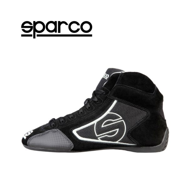 Sparco Yas-Mid Black Racing Shoes Sneakers in Suede Picture6: Designed for ultimate durability and performance, Sparco Yas-Mid Black Shoes is what you'd expect in a competition driving shoes. High laced shoes features a suede upper with the signature Sparco embroidery, the result is a clean-looking shoe with a comfortable fit.