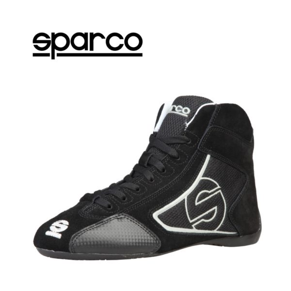 Sparco Yas-Mid Black Racing Shoes Sneakers in Suede Picture3: Designed for ultimate durability and performance, Sparco Yas-Mid Black Shoes is what you'd expect in a competition driving shoes. High laced shoes features a suede upper with the signature Sparco embroidery, the result is a clean-looking shoe with a comfortable fit.