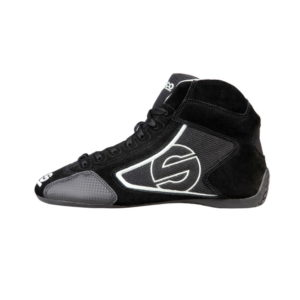 Sparco Yas-Mid Black Racing Shoes Sneakers in Suede Picture7: Designed for ultimate durability and performance, Sparco Yas-Mid Black Shoes is what you'd expect in a competition driving shoes. High laced shoes features a suede upper with the signature Sparco embroidery, the result is a clean-looking shoe with a comfortable fit.