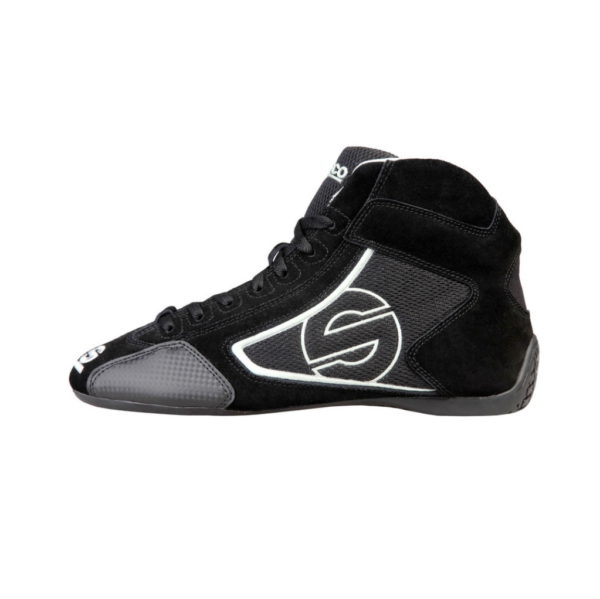 Sparco Yas-Mid Black Racing Shoes Sneakers in Suede Picture1: Designed for ultimate durability and performance, Sparco Yas-Mid Black Shoes is what you'd expect in a competition driving shoes. High laced shoes features a suede upper with the signature Sparco embroidery, the result is a clean-looking shoe with a comfortable fit.