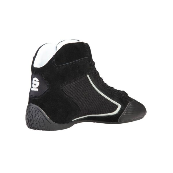 Sparco Yas-Mid Black Racing Shoes Sneakers in Suede Picture2: Designed for ultimate durability and performance, Sparco Yas-Mid Black Shoes is what you'd expect in a competition driving shoes. High laced shoes features a suede upper with the signature Sparco embroidery, the result is a clean-looking shoe with a comfortable fit.
