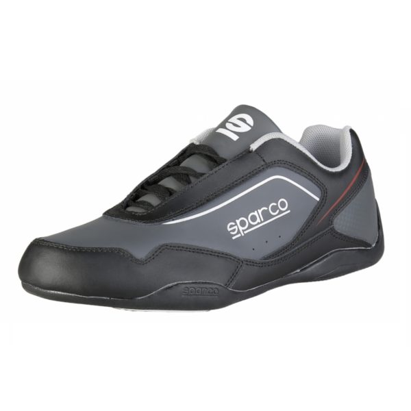 Sparco Shoes Jerez Black/Grey Shoes Sneakers Picture2: Designed for ultimate street durability and performance, Sparco Jerez Black/Grey Shoes is what you'd expect in a competition driving shoes. That is why these shoes/boots feature a thin sole for maximum pedal feel and control. The sole continues up the heel's back to provide a smooth and stable pivoting point for heel-toe shifting. Comfortable shoes/boots that can be used for everyday car and motorbike driving, touring, racing, karting and even sim racing.