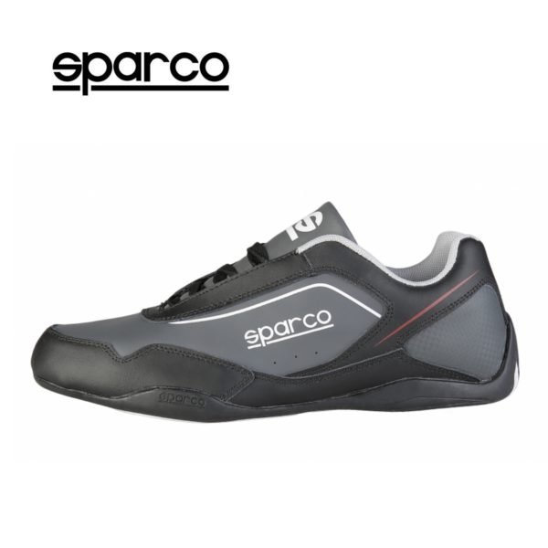Sparco Shoes Jerez Black/Grey Shoes Sneakers Picture1: Designed for ultimate street durability and performance, Sparco Jerez Black/Grey Shoes is what you'd expect in a competition driving shoes. That is why these shoes/boots feature a thin sole for maximum pedal feel and control. The sole continues up the heel's back to provide a smooth and stable pivoting point for heel-toe shifting. Comfortable shoes/boots that can be used for everyday car and motorbike driving, touring, racing, karting and even sim racing.