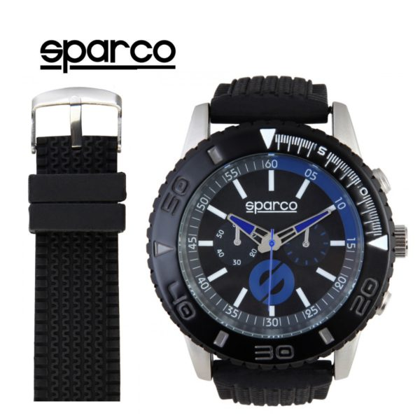 Sparco Jackie Black and Blue Watch Picture1: The sporty Jackie watch from Sparco accompanies you in your everyday life by providing an inimitable racing touch to your look. This model from Sparco is designed to complement differing outfits from sportswear to casual wear. The sporty design with a durable black strap is sure to impress.