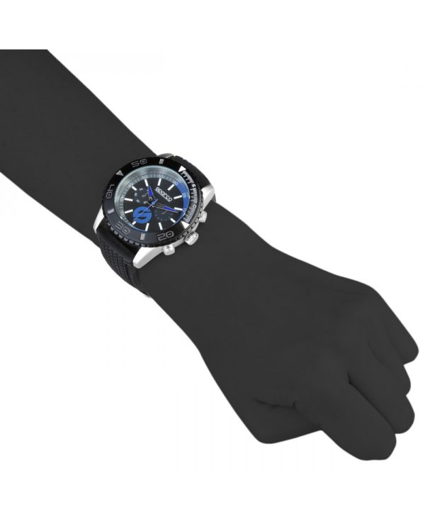Sparco Jackie Black and Blue Watch Picture2: The sporty Jackie watch from Sparco accompanies you in your everyday life by providing an inimitable racing touch to your look. This model from Sparco is designed to complement differing outfits from sportswear to casual wear. The sporty design with a durable black strap is sure to impress.