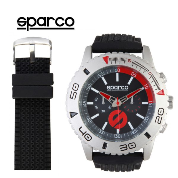 Sparco Jackie Black and Red Watch Picture1: The sporty Jackie watch from Sparco accompanies you in your everyday life by providing an inimitable racing touch to your look. This model from Sparco is designed to complement differing outfits from sportswear to casual wear. The sporty design with a durable black strap is sure to impress.