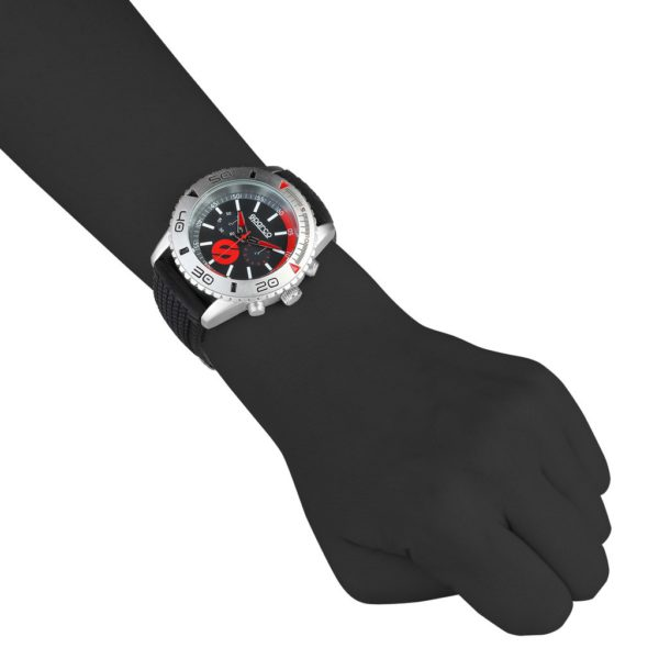 Sparco Jackie Black and Red Watch Picture2: The sporty Jackie watch from Sparco accompanies you in your everyday life by providing an inimitable racing touch to your look. This model from Sparco is designed to complement differing outfits from sportswear to casual wear. The sporty design with a durable black strap is sure to impress.