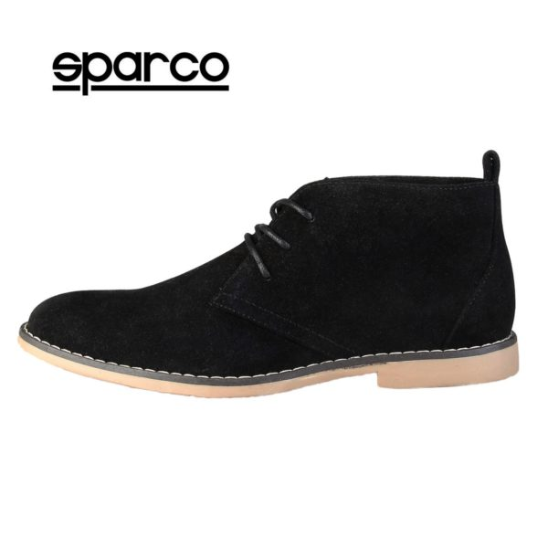 Sparco Suzuka Black Desert Boots Shoes Picture1: Designed for casual street durability and performance, Sparco Suzuka Black Ankle Boots is what you'd expect in a Casual Shoes. Unique style with increased comfort, pair with tailored pants and a casual shirt for the weekend.