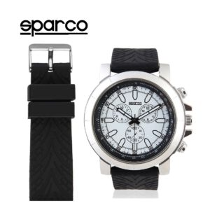 Sparco James Black Watch Picture7: The sporty James watch from Sparco accompanies you in your everyday life by providing an inimitable racing touch to your look. This model from Sparco is designed to complement differing outfits from sportswear to casual wear. The sporty design with a durable black strap is sure to impress.