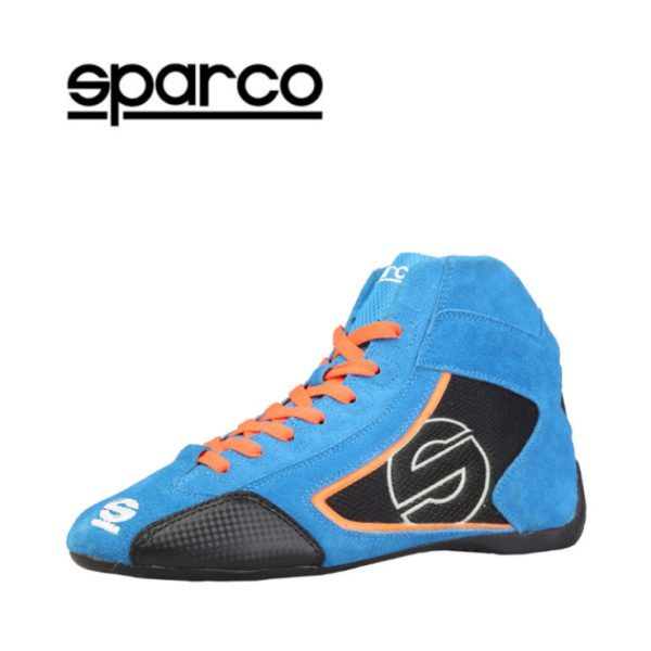 Sparco Yas-Mid Blue Racing Shoes Sneakers in Suede Picture2: Designed for ultimate durability and performance, Sparco Yas-Mid Blue Shoes is what you'd expect in a competition driving shoes. High laced shoes features a suede upper with the signature Sparco embroidery, the result is a clean-looking shoe with a comfortable fit.