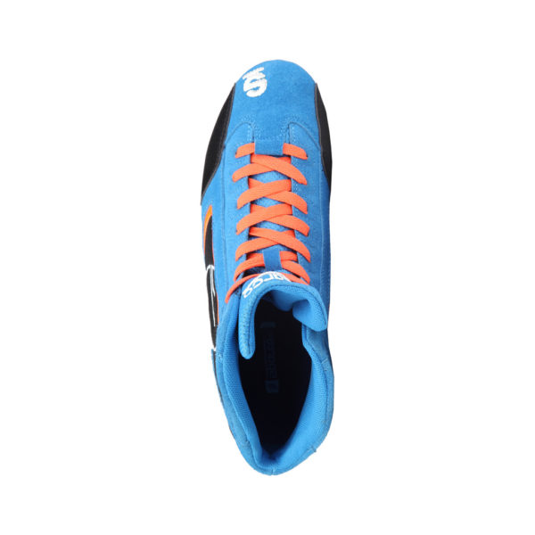 Sparco Yas-Mid Blue Racing Shoes Sneakers in Suede Picture4: Designed for ultimate durability and performance, Sparco Yas-Mid Blue Shoes is what you'd expect in a competition driving shoes. High laced shoes features a suede upper with the signature Sparco embroidery, the result is a clean-looking shoe with a comfortable fit.