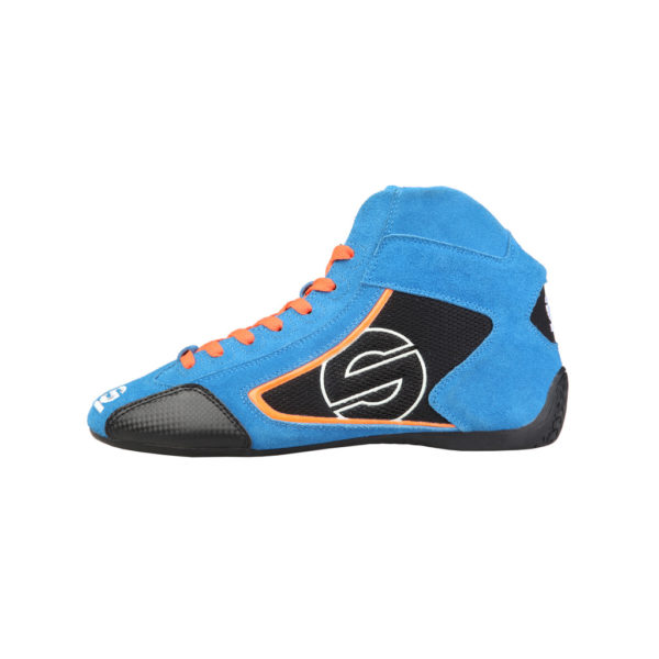 Sparco Yas-Mid Blue Racing Shoes Sneakers in Suede Picture1: Designed for ultimate durability and performance, Sparco Yas-Mid Blue Shoes is what you'd expect in a competition driving shoes. High laced shoes features a suede upper with the signature Sparco embroidery, the result is a clean-looking shoe with a comfortable fit.