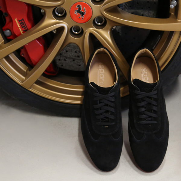 Sparco Imola-GP Black Shoes Sneakers in Suede Picture2: Designed for ultimate street durability and performance, Sparco Imola-GP Black Shoes is what you'd expect in a competition driving shoes. That is why these shoes/boots feature a thin sole for maximum pedal feel and control. The sole continues up the heel's back to provide a smooth and stable pivoting point for heel-toe shifting. Comfortable shoes/boots that can be used for everyday car and motorbike driving, touring, racing, karting and even sim racing.