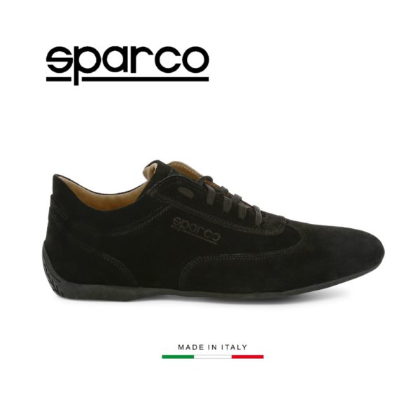 Sparco Imola-GP Black Shoes Sneakers in Suede Picture1: Designed for ultimate street durability and performance, Sparco Imola-GP Black Shoes is what you'd expect in a competition driving shoes. That is why these shoes/boots feature a thin sole for maximum pedal feel and control. The sole continues up the heel's back to provide a smooth and stable pivoting point for heel-toe shifting. Comfortable shoes/boots that can be used for everyday car and motorbike driving, touring, racing, karting and even sim racing.