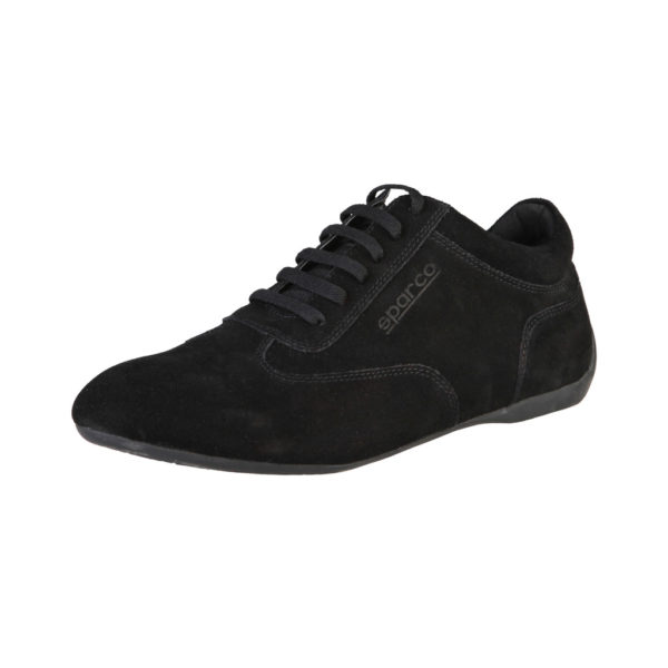 Sparco Imola-GP Black Shoes Sneakers in Suede Picture4: Designed for ultimate street durability and performance, Sparco Imola-GP Black Shoes is what you'd expect in a competition driving shoes. That is why these shoes/boots feature a thin sole for maximum pedal feel and control. The sole continues up the heel's back to provide a smooth and stable pivoting point for heel-toe shifting. Comfortable shoes/boots that can be used for everyday car and motorbike driving, touring, racing, karting and even sim racing.