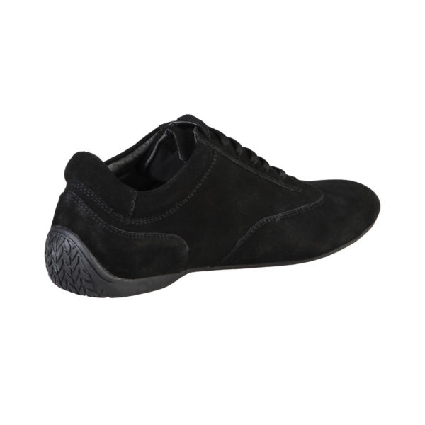 Sparco Imola-GP Black Shoes Sneakers in Suede Picture6: Designed for ultimate street durability and performance, Sparco Imola-GP Black Shoes is what you'd expect in a competition driving shoes. That is why these shoes/boots feature a thin sole for maximum pedal feel and control. The sole continues up the heel's back to provide a smooth and stable pivoting point for heel-toe shifting. Comfortable shoes/boots that can be used for everyday car and motorbike driving, touring, racing, karting and even sim racing.