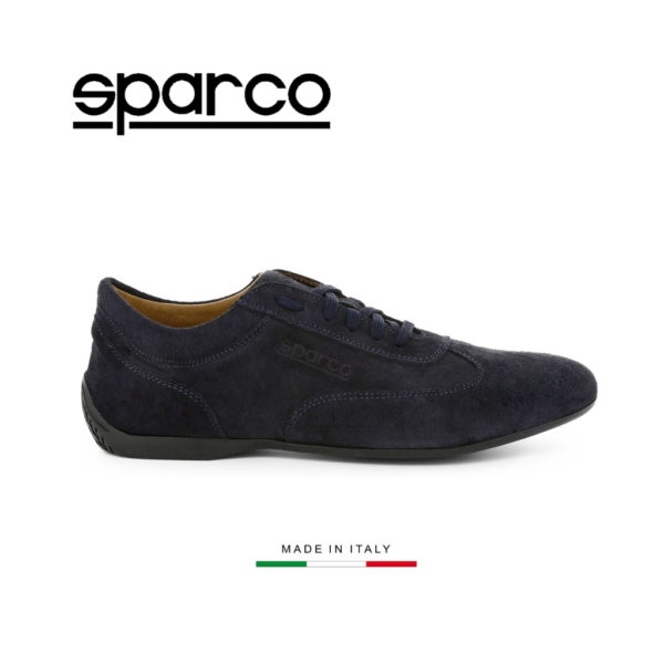 Sparco Imola-GP Dark Blue Shoes Sneakers in Suede Picture1: Designed for ultimate street durability and performance, Sparco Imola-GP Dark Blue Shoes is what you'd expect in a competition driving shoes. That is why these shoes/boots feature a thin sole for maximum pedal feel and control. The sole continues up the heel's back to provide a smooth and stable pivoting point for heel-toe shifting. Comfortable shoes/boots that can be used for everyday car and motorbike driving, touring, racing, karting and even sim racing.