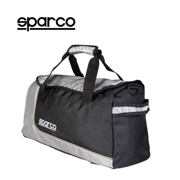 Sparco S6 Grey Travel Bag Picture1: Sparco S6 is a medium-size gym or travel bag with an adjustable and removable shoulder strap with a padded insert, two handles and more. The compact lightweight design has enough room to store your essentials featuring two handles, removable and adjustable shoulder strap with Sparco printed logo.