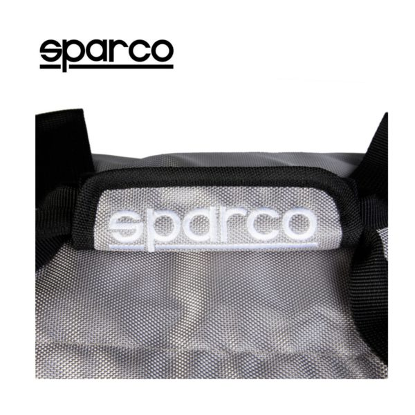 Sparco S6 Grey Travel Bag Picture5: Sparco S6 is a medium-size gym or travel bag with an adjustable and removable shoulder strap with a padded insert, two handles and more. The compact lightweight design has enough room to store your essentials featuring two handles, removable and adjustable shoulder strap with Sparco printed logo.