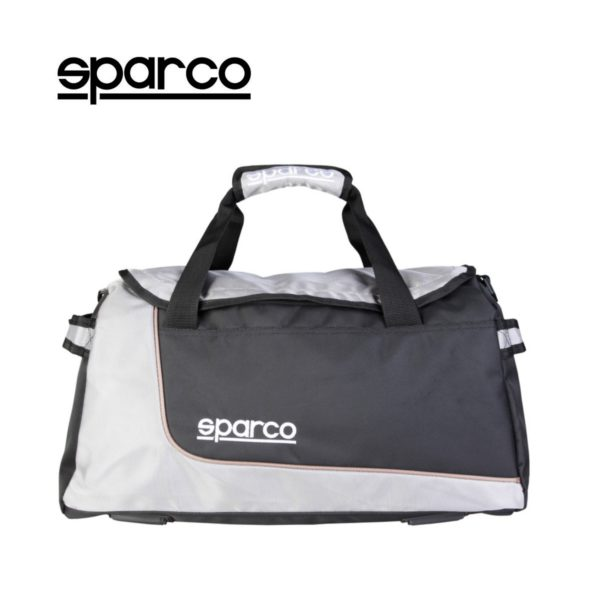 Sparco S6 Grey Travel Bag Picture8: Sparco S6 is a medium-size gym or travel bag with an adjustable and removable shoulder strap with a padded insert, two handles and more. The compact lightweight design has enough room to store your essentials featuring two handles, removable and adjustable shoulder strap with Sparco printed logo.