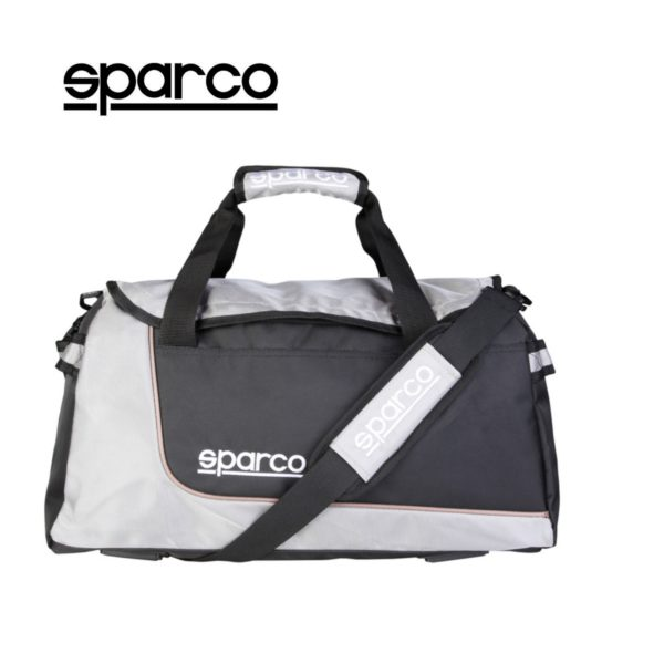 Sparco S6 Grey Travel Bag Picture2: Sparco S6 is a medium-size gym or travel bag with an adjustable and removable shoulder strap with a padded insert, two handles and more. The compact lightweight design has enough room to store your essentials featuring two handles, removable and adjustable shoulder strap with Sparco printed logo.