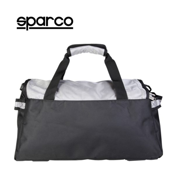 Sparco S6 Grey Travel Bag Picture3: Sparco S6 is a medium-size gym or travel bag with an adjustable and removable shoulder strap with a padded insert, two handles and more. The compact lightweight design has enough room to store your essentials featuring two handles, removable and adjustable shoulder strap with Sparco printed logo.
