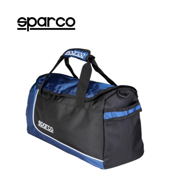 Sparco S6 Blue Travel Bag Picture1: Sparco S6 is a medium-size gym or travel bag with an adjustable and removable shoulder strap with a padded insert, two handles and more. The compact lightweight design has enough room to store your essentials featuring two handles, removable and adjustable shoulder strap with Sparco printed logo.