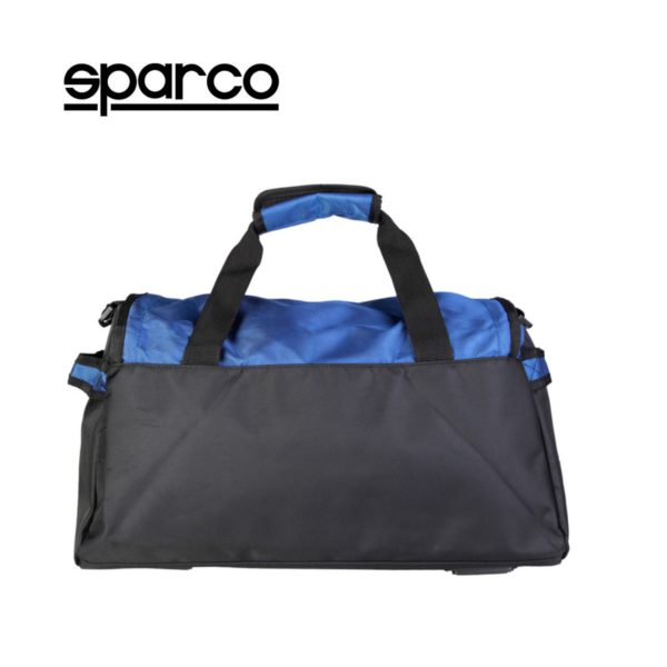 Sparco S6 Blue Travel Bag Picture3: Sparco S6 is a medium-size gym or travel bag with an adjustable and removable shoulder strap with a padded insert, two handles and more. The compact lightweight design has enough room to store your essentials featuring two handles, removable and adjustable shoulder strap with Sparco printed logo.