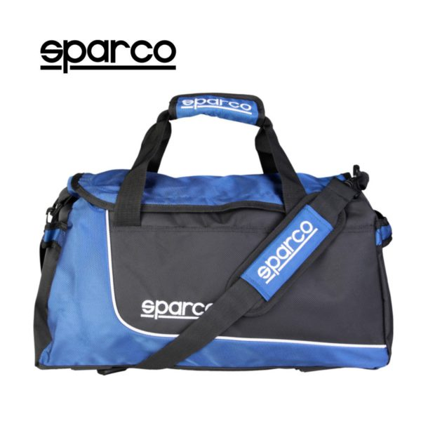 Sparco S6 Blue Travel Bag Picture2: Sparco S6 is a medium-size gym or travel bag with an adjustable and removable shoulder strap with a padded insert, two handles and more. The compact lightweight design has enough room to store your essentials featuring two handles, removable and adjustable shoulder strap with Sparco printed logo.