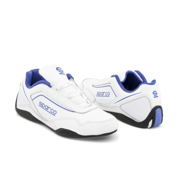 Sparco Shoes Jerez White/Blue Shoes Sneakers Picture2: Designed for ultimate street durability and performance, Sparco Jerez White/Blue Shoes is what you'd expect in a competition driving shoes. That is why these shoes/boots feature a thin sole for maximum pedal feel and control. The sole continues up the heel's back to provide a smooth and stable pivoting point for heel-toe shifting. Comfortable shoes/boots that can be used for everyday car and motorbike driving, touring, racing, karting and even sim racing.