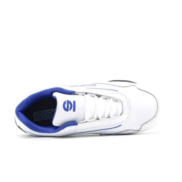 Sparco Shoes Jerez White/Blue Shoes Sneakers Picture3: Designed for ultimate street durability and performance, Sparco Jerez White/Blue Shoes is what you'd expect in a competition driving shoes. That is why these shoes/boots feature a thin sole for maximum pedal feel and control. The sole continues up the heel's back to provide a smooth and stable pivoting point for heel-toe shifting. Comfortable shoes/boots that can be used for everyday car and motorbike driving, touring, racing, karting and even sim racing.
