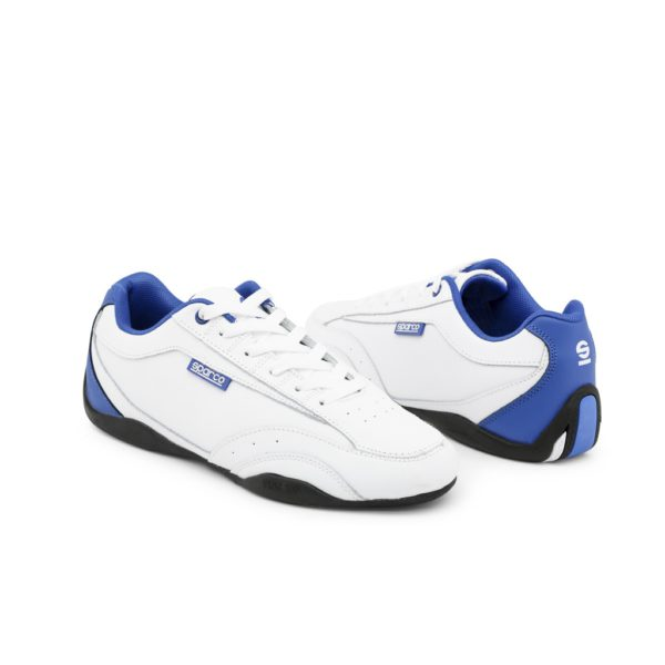 Sparco Zandvoort White/Blue Shoes Sneakers Picture2: Designed for ultimate street durability and performance, Sparco Zandvoort White/Blue Shoes is what you'd expect in a competition driving shoes. That is why these shoes/boots feature a thin sole for maximum pedal feel and control. The sole continues up the heel's back to provide a smooth and stable pivoting point for heel-toe shifting. Comfortable shoes/boots that can be used for everyday car and motorbike driving, touring, racing, karting and even sim racing.