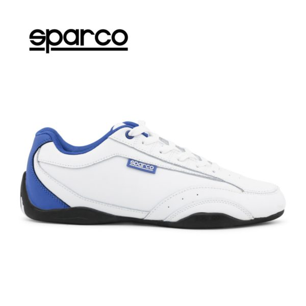 Sparco Zandvoort White/Blue Shoes Sneakers Picture1: Designed for ultimate street durability and performance, Sparco Zandvoort White/Blue Shoes is what you'd expect in a competition driving shoes. That is why these shoes/boots feature a thin sole for maximum pedal feel and control. The sole continues up the heel's back to provide a smooth and stable pivoting point for heel-toe shifting. Comfortable shoes/boots that can be used for everyday car and motorbike driving, touring, racing, karting and even sim racing.