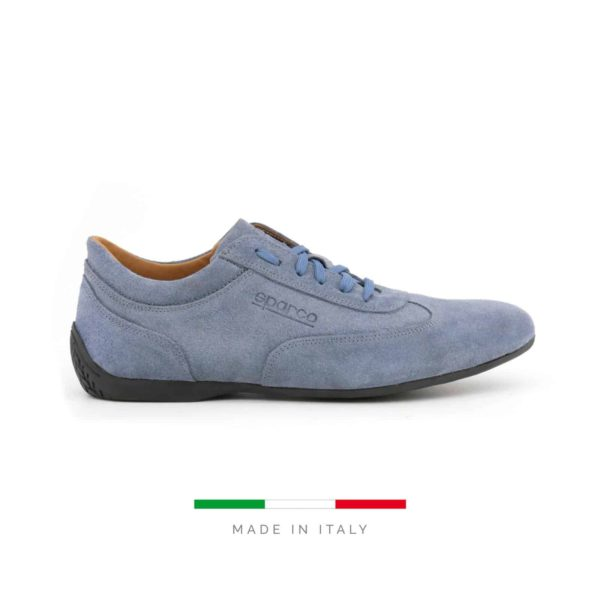 Sparco Imola-GP Blue Shoes Sneakers in Suede Picture1: Designed for ultimate street durability and performance, Sparco Imola-GP Blue Shoes is what you'd expect in a competition driving shoes. That is why these shoes/boots feature a thin sole for maximum pedal feel and control. The sole continues up the heel's back to provide a smooth and stable pivoting point for heel-toe shifting. Comfortable shoes/boots that can be used for everyday car and motorbike driving, touring, racing, karting and even sim racing.