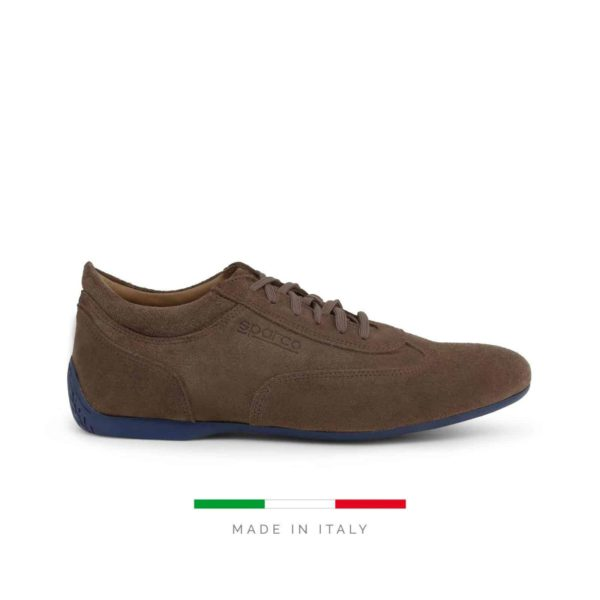 Sparco Imola-GPC Brown Shoes Sneakers in Suede Picture1: Designed for ultimate street durability and performance, Sparco Imola-GPC Brown Shoes is what you'd expect in a competition driving shoes. That is why these shoes/boots feature a thin sole for maximum pedal feel and control. The sole continues up the heel's back to provide a smooth and stable pivoting point for heel-toe shifting. Comfortable shoes/boots that can be used for everyday car and motorbike driving, touring, racing, karting and even sim racing.