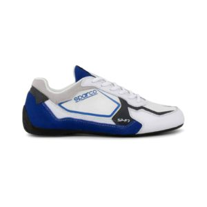 Sparco SP-F7 White/Blue Shoes Sneakers Picture6: Designed for ultimate street durability and performance, Sparco SP-F7 White/Blue Shoes is what you'd expect in a competition driving shoes. That is why these shoes/boots feature a thin sole for maximum pedal feel and control. The sole continues up the heel's back to provide a smooth and stable pivoting point for heel-toe shifting. Comfortable shoes/boots that can be used for everyday car and motorbike driving, touring, racing, karting and even sim racing.