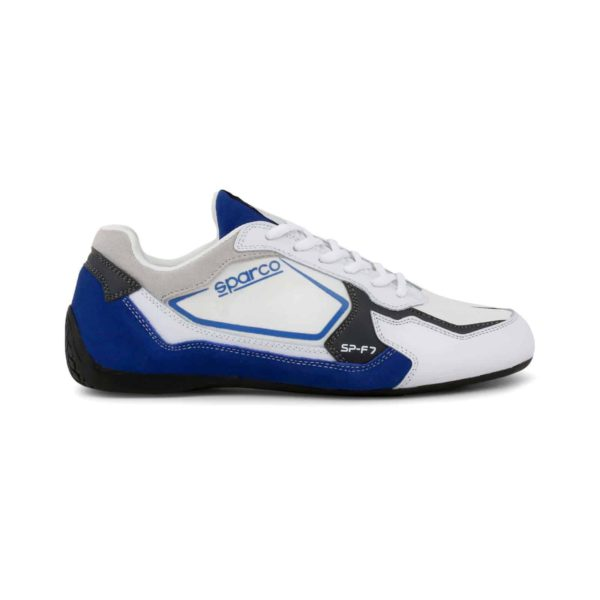 Sparco SP-F7 White/Blue Shoes Sneakers Picture1: Designed for ultimate street durability and performance, Sparco SP-F7 White/Blue Shoes is what you'd expect in a competition driving shoes. That is why these shoes/boots feature a thin sole for maximum pedal feel and control. The sole continues up the heel's back to provide a smooth and stable pivoting point for heel-toe shifting. Comfortable shoes/boots that can be used for everyday car and motorbike driving, touring, racing, karting and even sim racing.