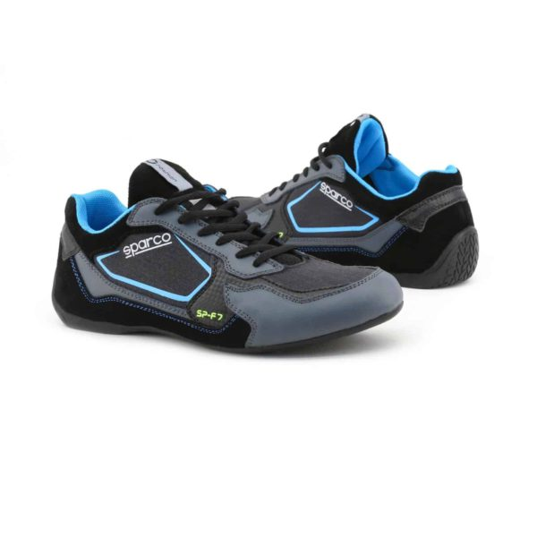Sparco SP-F7 Black Shoes Sneakers Picture3: Designed for ultimate street durability and performance, Sparco SP-F7 Black Shoes is what you'd expect in a competition driving shoes. That is why these shoes/boots feature a thin sole for maximum pedal feel and control. The sole continues up the heel's back to provide a smooth and stable pivoting point for heel-toe shifting. Comfortable shoes/boots that can be used for everyday car and motorbike driving, touring, racing, karting and even sim racing.