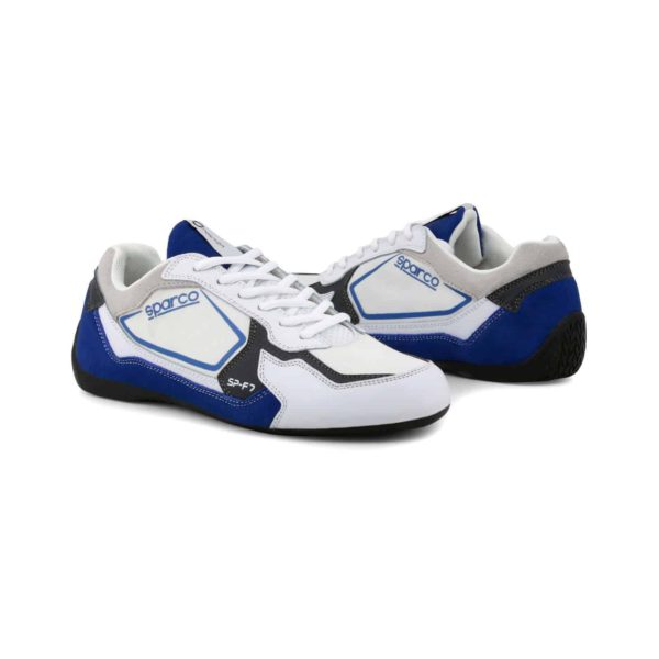 Sparco SP-F7 White/Blue Shoes Sneakers Picture3: Designed for ultimate street durability and performance, Sparco SP-F7 White/Blue Shoes is what you'd expect in a competition driving shoes. That is why these shoes/boots feature a thin sole for maximum pedal feel and control. The sole continues up the heel's back to provide a smooth and stable pivoting point for heel-toe shifting. Comfortable shoes/boots that can be used for everyday car and motorbike driving, touring, racing, karting and even sim racing.