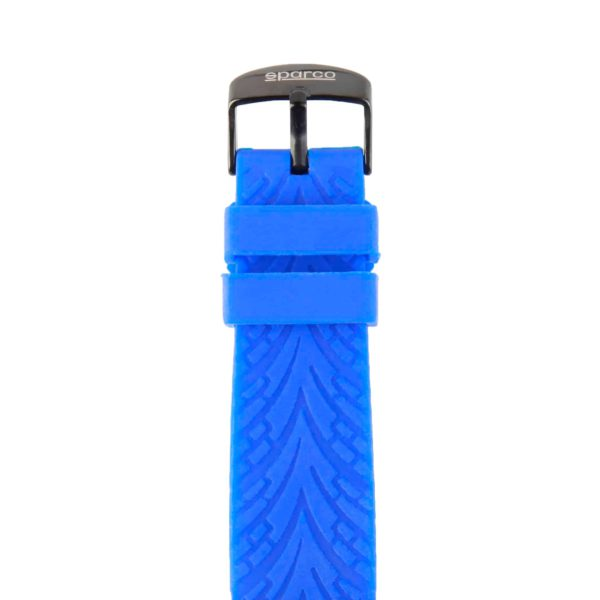 Sparco Eddie Blue Watch Picture4: The sporty watch collection from Sparco accompanies you in your everyday life by providing an inimitable racing touch to your look. Eddie model from Sparco is designed to complement differing outfits from sportswear to casual wear. The sporty design with a durable blue strap is sure to impress.
