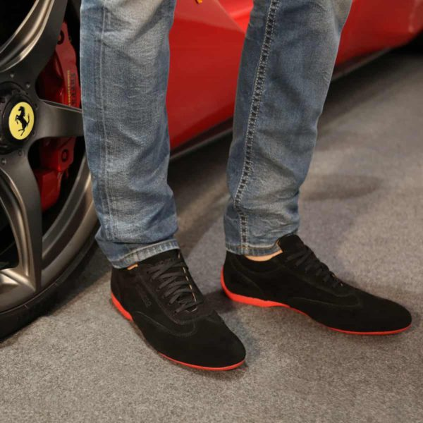 Sparco Imola-GPC Black Shoes Sneakers in Suede Picture2: Designed for ultimate street durability and performance, Sparco Imola-GPC Black Shoes is what you'd expect in a competition driving shoes. That is why these shoes/boots feature a thin sole for maximum pedal feel and control. The sole continues up the heel's back to provide a smooth and stable pivoting point for heel-toe shifting. Comfortable shoes/boots that can be used for everyday car and motorbike driving, touring, racing, karting and even sim racing.