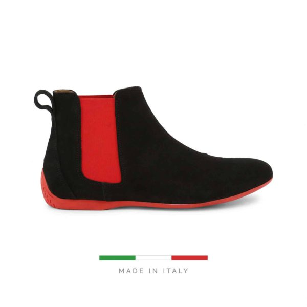 Sparco Misano Black Red Shoes Ankle Boots in Suede Picture1: Misano ankle boot is made with nothing but comfort in mind, these stylish shoes by Sparco make the perfect addition to any outfit. Sparco Misano a sporty ankle boot made from Black suede, leather-lined and matched with a rubber sole. Pair Sparco Misano with tailored pants and a casual shirt for the weekend.