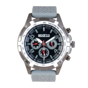 Sparco Eddie Grey Watch Picture6: The sporty watch collection from Sparco accompanies you in your everyday life by providing an inimitable racing touch to your look. Eddie model from Sparco is designed to complement differing outfits from sportswear to casual wear. The sporty design with a durable grey strap is sure to impress.