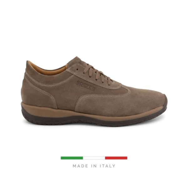 Sparco Imola-GP1 Brown Shoes Sneakers in Suede Picture1: Designed for ultimate street durability and performance, Sparco Imola-GP1 Brown Shoes is what you'd expect in a competition driving shoes. That is why these shoes/boots feature a grippy sole for maximum pedal feel and control. The sole continues up the heel's back to provide a smooth and stable pivoting point for heel-toe shifting. Comfortable shoes/boots that can be used for everyday car and motorbike driving, touring, racing, karting and even sim racing.