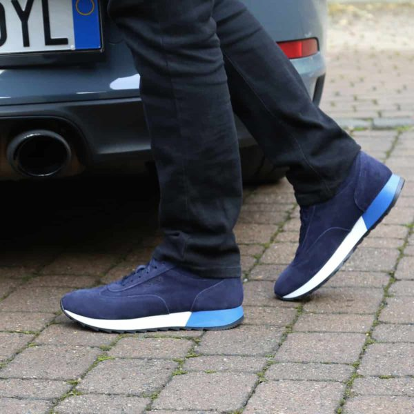Sparco Imola-Run Blue Shoes Sneakers in Suede Picture2: Designed for ultimate street durability and performance, Sparco Imola Blue Shoes is what you'd expect in a competition driving shoes. These shoes feature a high-quality sole for leisure/casual use and would make great driving shoes. Comfortable and can be used for everyday car and motorbike driving, touring, racing, karting and even sim racing.