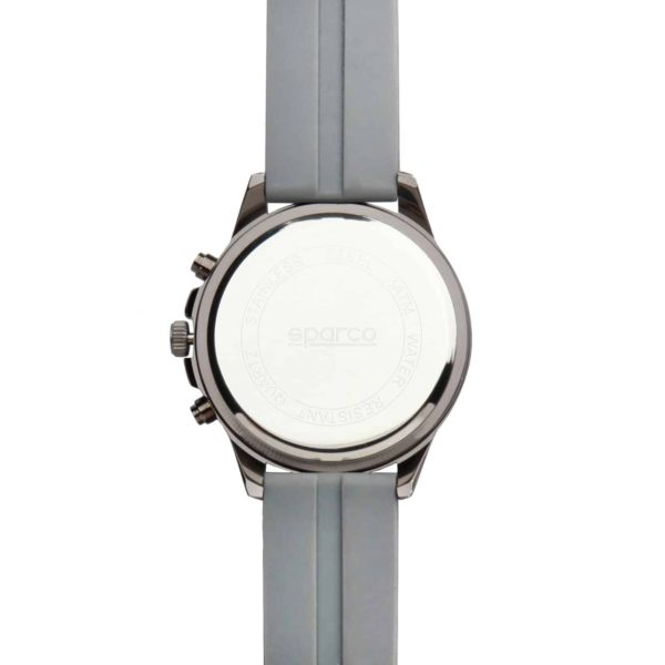 Sparco Eddie Grey Watch Picture5: The sporty watch collection from Sparco accompanies you in your everyday life by providing an inimitable racing touch to your look. Eddie model from Sparco is designed to complement differing outfits from sportswear to casual wear. The sporty design with a durable grey strap is sure to impress.