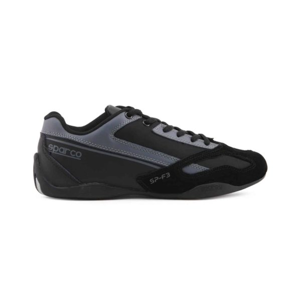 Sparco SP-F3 Black Shoes Sneakers Picture1: Designed for ultimate street durability and performance, Sparco SP-F3 Black Shoes is what you'd expect in a competition driving shoes. That is why these shoes/boots feature a thin sole for maximum pedal feel and control. The sole continues up the heel's back to provide a smooth and stable pivoting point for heel-toe shifting. Comfortable shoes/boots that can be used for everyday car and motorbike driving, touring, racing, karting and even sim racing.
