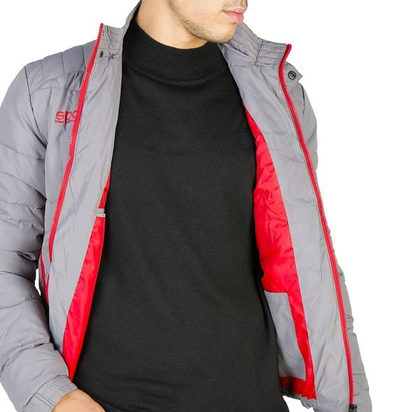Sparco Indy Grey Jacket Picture2: Sparco Indy Grey Jacket marked with Sparco logo; it comes in contrasting zip, 3 external pockets with snap buttons, ribbed waist and cuffs. Brilliant for casual outings and perfect companion as you go about your busy life or during sports and racing events.