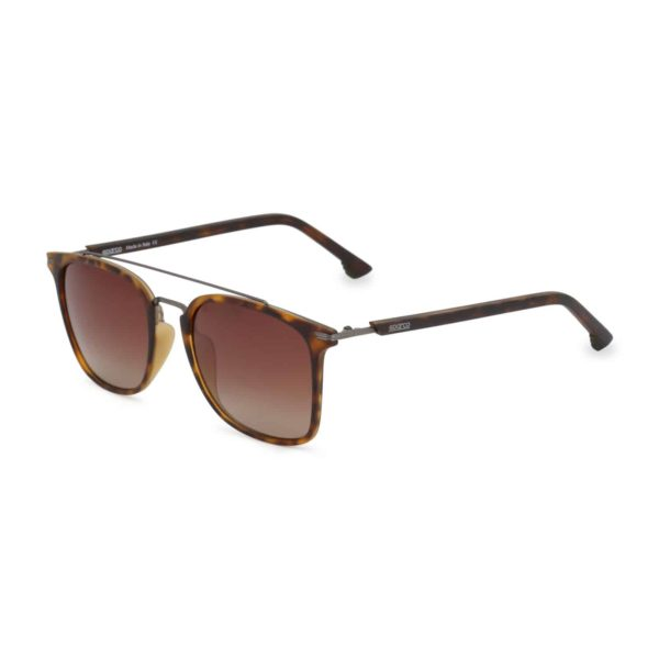 Sparco Podium Havana Brown Sunglasses with Brown Tint Lenses Picture2: Sparco Podium Brown Sunglasses are light, stylish, sporty and made in Italy by Sparco, a true piece of racing fashion. It comes with polarised lenses to protect your eyes. Sparco sunglasses are simple and trendy that can complete every outfit from sporty look to everyday glamorous style.