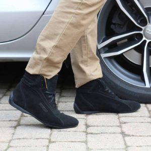 Sparco Monza-GP Black Shoes Sneakers in Suede Picture7: Designed for ultimate street durability and performance, Sparco Monza-GP Black Shoes is what you'd expect in a competition driving shoes. That is why these shoes/boots feature a thin sole for maximum pedal feel and control. The sole continues up the heel's back to provide a smooth and stable pivoting point for heel-toe shifting. Comfortable shoes/boots that can be used for everyday car and motorbike driving, touring, racing, karting and even sim racing.